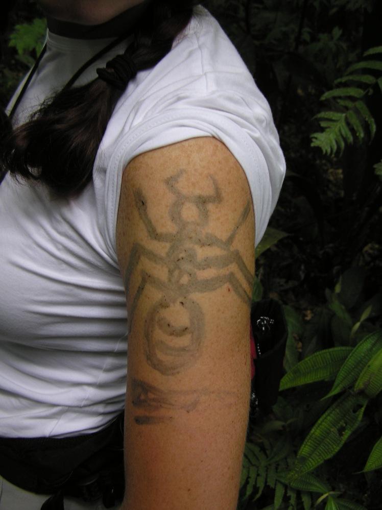 Det är brukligt att få en tatuering innan besök i regnskogen. I mitt fall en tarantula.