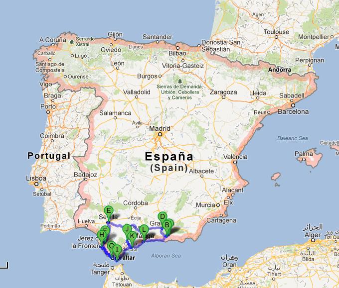 södra spanien karta