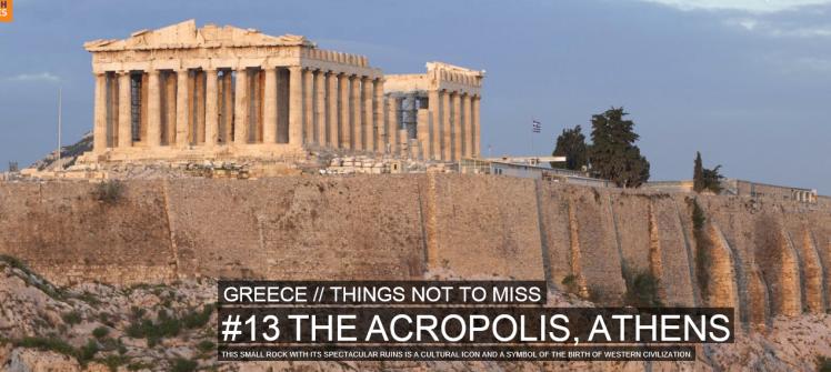 Akropolis. På plats 13 över saker du inte får missa i Grekland. Foto hämtat från Rough guides.com.