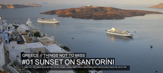 Santorini. På första plats över saker du inte får missa i Grekland enligt Rough Guides. Foto beskuret från roughguides.com